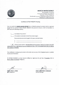 Cert of No PhilGEPS Posting